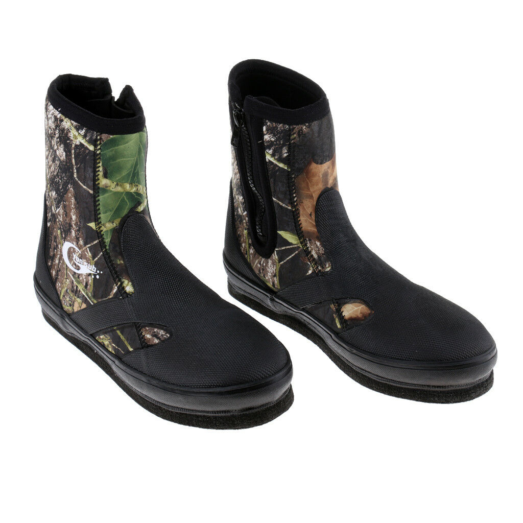 Camo Anti-Skid Spear Fishing River Tracing Diving Boots shoes w  Spikes Sole
