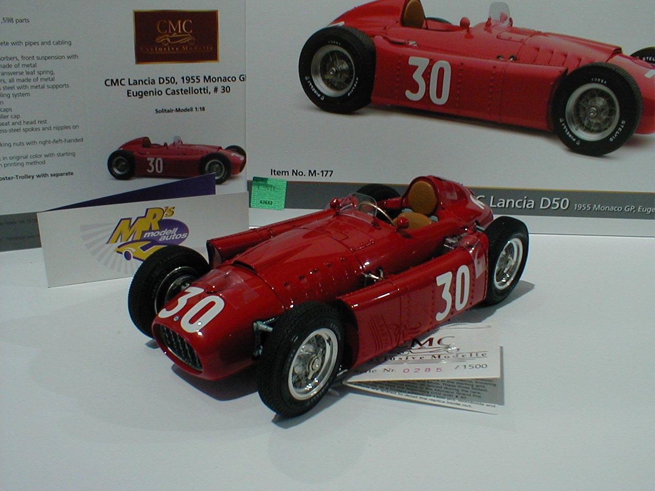 CMC M-177 - Lancia D50 Rennwagen GP Monaco 1955   Eugenio Castellotti   1 18 NEU