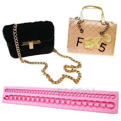 Long Chain Silicone Fondant Mould Purse Bag Cake Mold Sugarcraft Decorating Tool