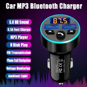 Sans-Fil-Mains-Libres-Bluetooth-Voiture-Kit-Transmetteur-Fm-MP3-Lecteur-Dual-USB