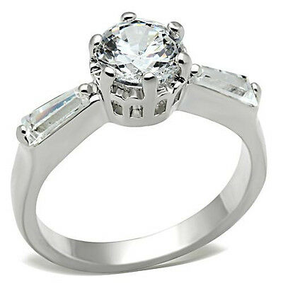 Sterling Engagement Round CZ Silver Ring Baguette Accents 925 7mm 1.28 ct Women