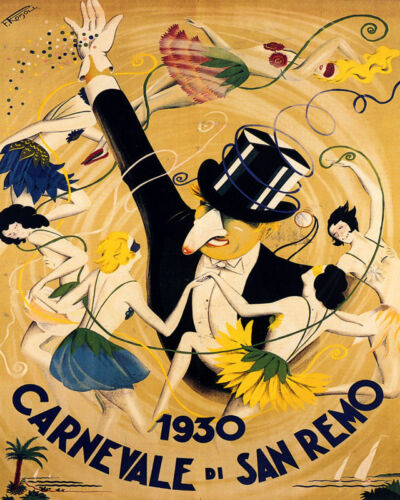 POSTER 1930 SAN REMO CARNIVAL MASQUERADE BALL DANCE ITALY VINTAGE REPRO FREE S/H