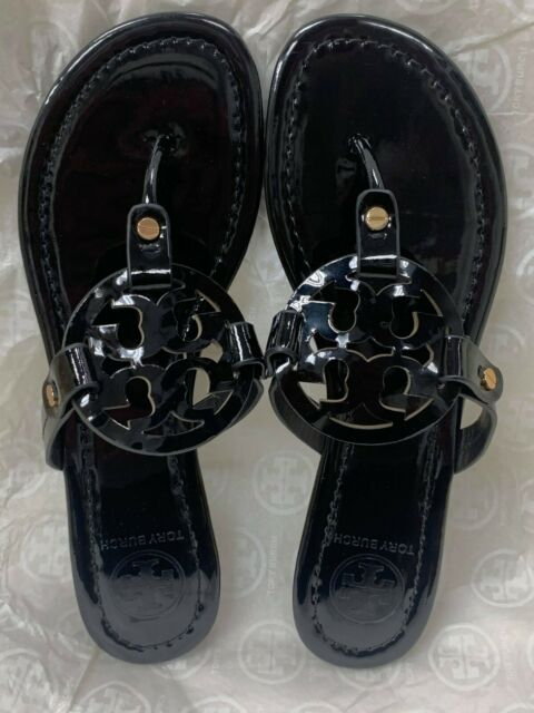 NIB Tory Burch Miller Leather Square Toe Logo Flat Sandal Black $228