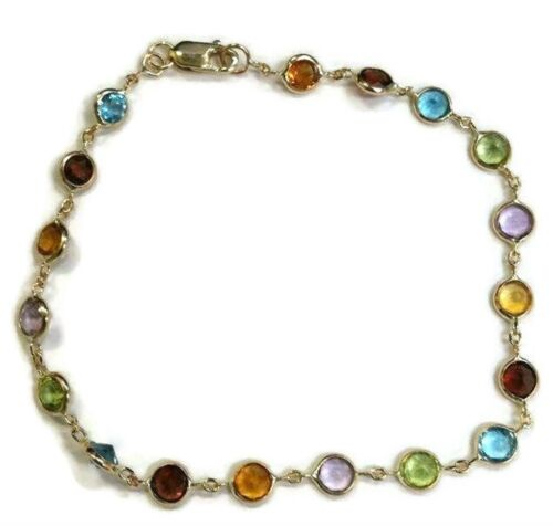 Multicolor 4 mm Gemstones  7 inches braclet  14k Yellow Gold