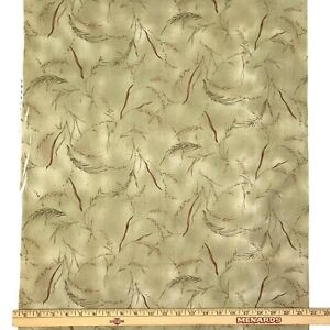 1-Yard-Cotton-Quilting-Fabric-Beige-Leaves-Wheat-Floral-Unbranded