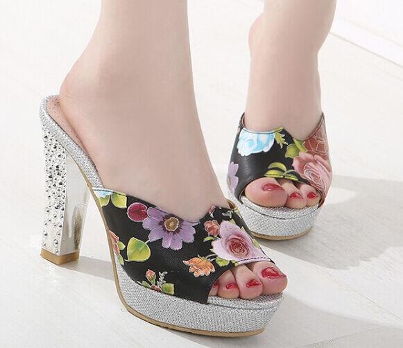 Zapatos zapatillas zuecos sandalias tacón alto 10 cm plata flores negro 9300