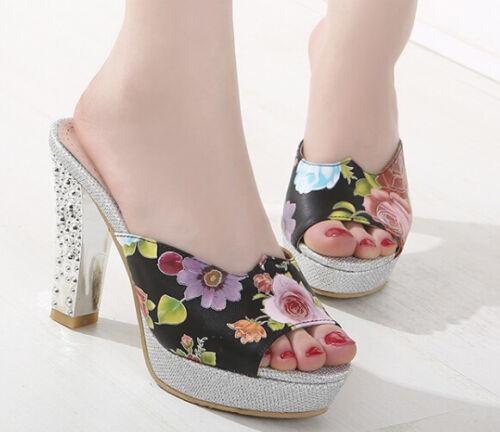 Scarpe ciabatte sabot sandali tacco alto 10 cm argento fiori nero elegante 9300