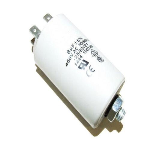 PLASTIC ROUND RUN CAPACITOR 8µF 8UF 400-500V 4 TERMINALS HOOVER MACHINE