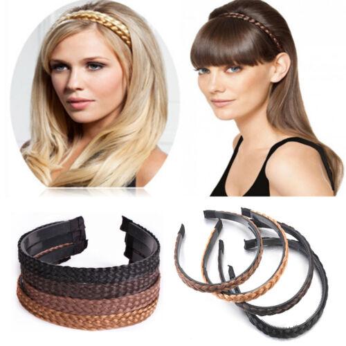 Women Hair Braided Plaited Plait Band Hairband Headband Synthetic Hair Accessory