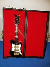 Electric Guitar Replica wooden w Metal Strings Black White with Case 6 inches 1