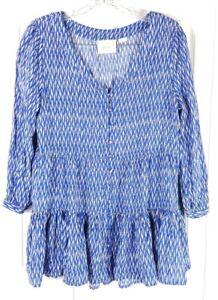 ANTHROPOLOGIE-MAEVE-womens-size-M-blue-white-boho-ruffle-peasant-festival-blouse