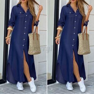 Details about UK Women's Long Sleeve Denim Casual Loose Button Down Maxi Shirt Dress Oversize