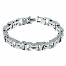 """Wholesale 8.66"""" Men's Stainless Steel Silver Link Chain Bracelet Bangle Cuff"""