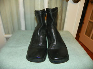 1666f079eef ENZO ANGIOLINI Black Leather Chunky Heel side zip Ankle Boots Size ...