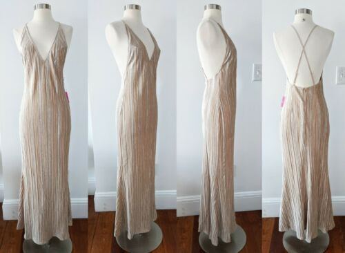 Champagne Beige Nude Dress SMALL Wedding Bridesmaid Formal Prom Cocktail Party F