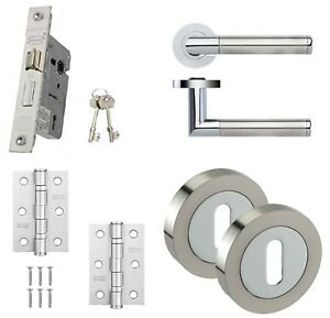 Dual Chrome Internal Door Handle Sets - Latch, Lock & Bathroom Door ...
