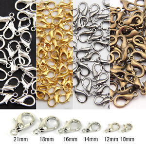 100Pcs-Silver-Gold-Bronze-Lobster-Claw-Clasps-Hooks-Finding-DIY-10-12-14-16mm
