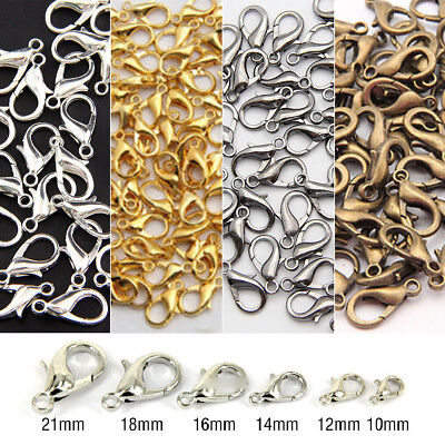 100pcs 12mm Stainless Steel Lobster Clasp Hooks fr DIY Jewelry Making Handicraft