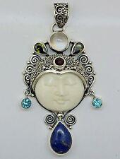 VINTAGE Carved Bone Bali Goddess Gemstone pendant (60x29 mm) in 925 Silver