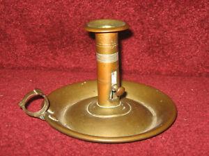 Antique-19th-C-Brass-Push-uUp-Candlestick