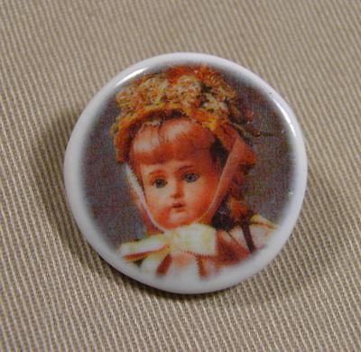 1 Porcelain China Pictoral Vintage Doll #2 Button Backmarked Birchcroft England