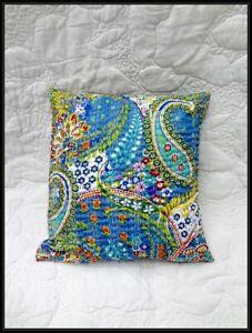 Cushion-Cover-India-Handmade-Floral-100-Cotton-Embroidered-Kantha-Pillow-Cover