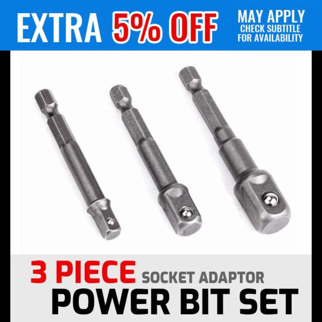 Impact Driver Adaptor Power Bit Set 1/4 3/8 1/2 Drill Socket Hex Shank