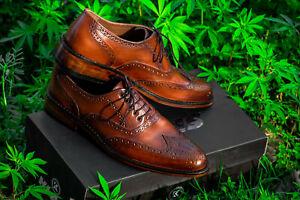 Hombres-Cuero-Zapatos-Suela-De-Cuero-Hecho-a-Mano-Cuero-Calado-caasual-vestido-tamano-39-a-45