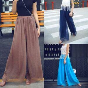 High-waist-harem-maxi-palazzo-loose-trousers-wide-leg-chiffon-casual-pants