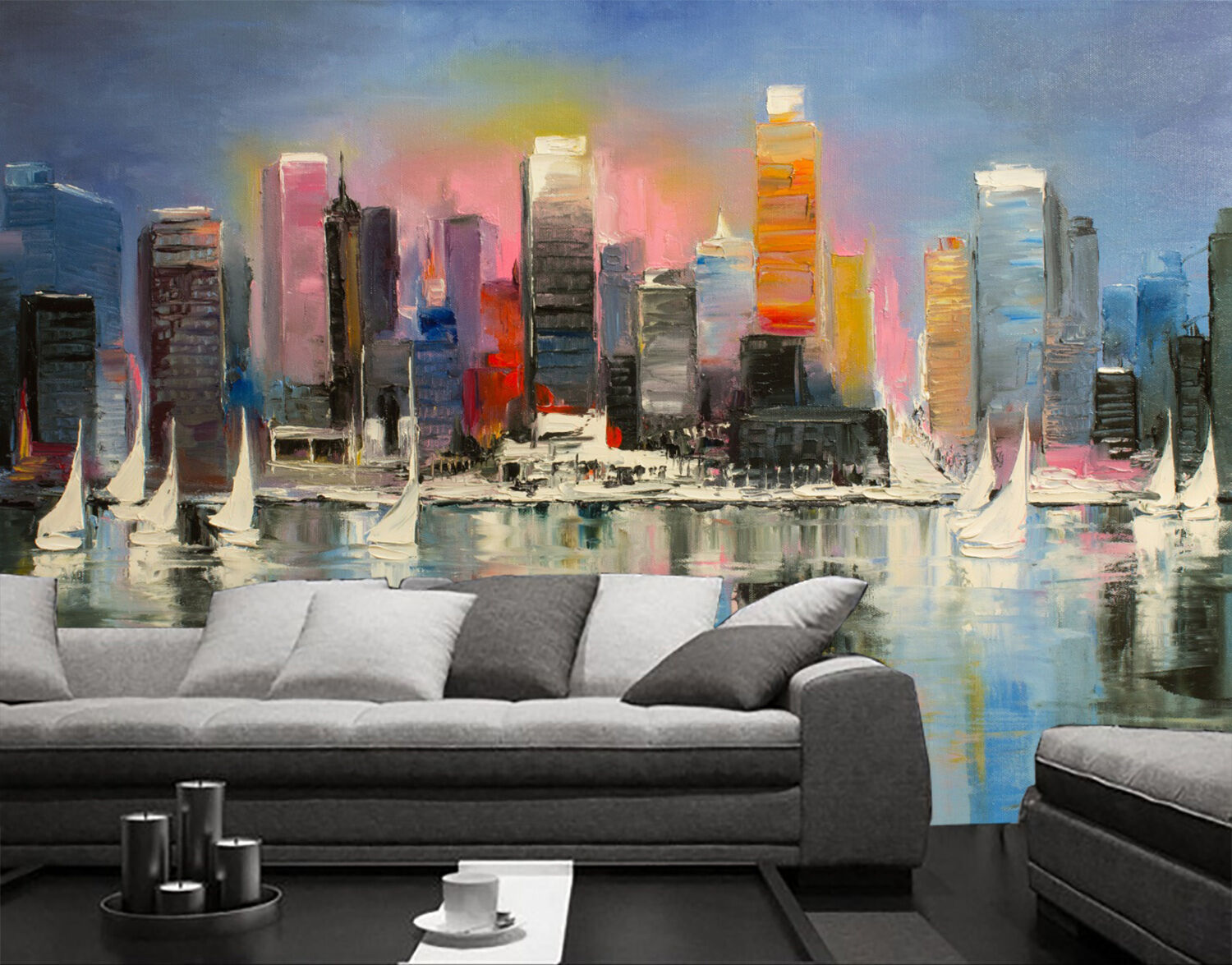 3D pigment painting city Wall Paper Print Decal Wall Deco Indoor wall Mural