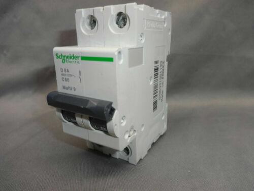 Schneider Electric D 8A Multi 9 C60 Circuit Breaker 24521 8Amp 2P 5kA 480Y//277V