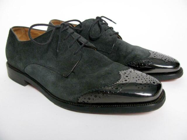 bdac1458697 CHRISTIAN LOUBOUTIN SUEDE LEATHER OXFORD SHOES METAL TOE CAP BROGUE  WINGTIP~39/6