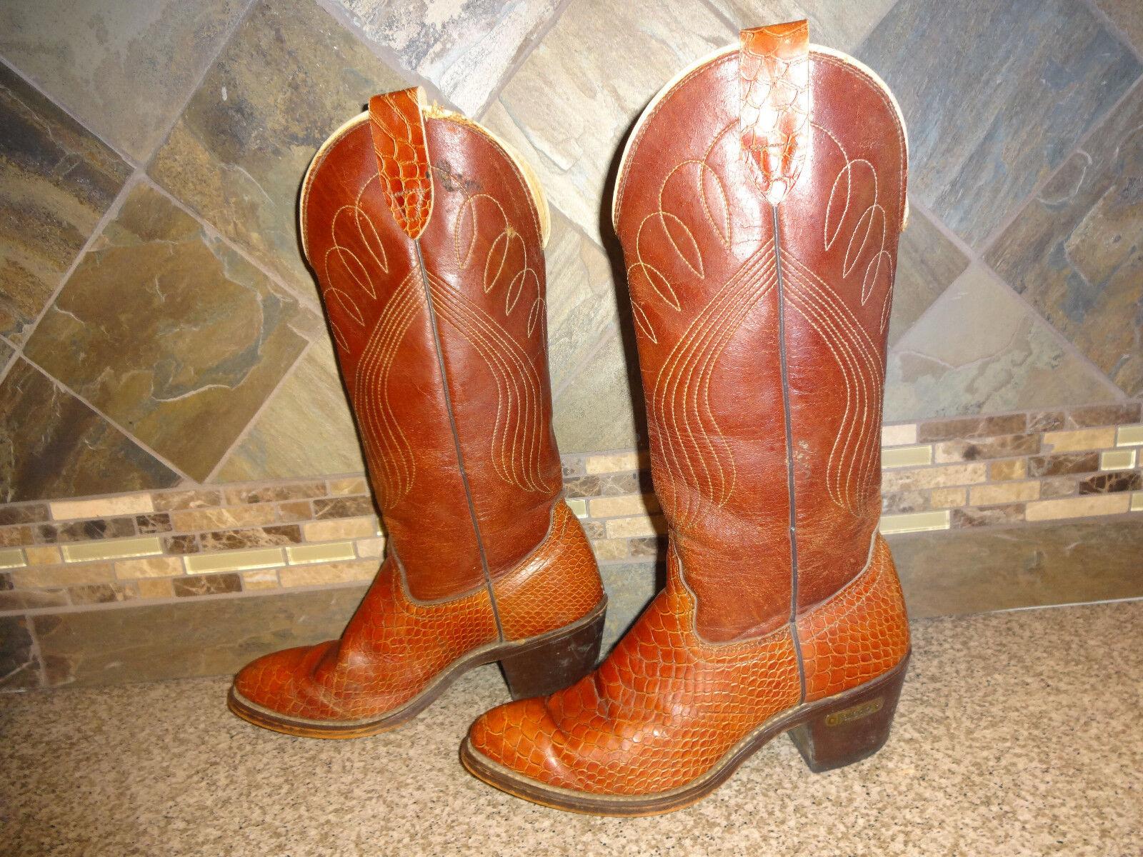 Damenschuhe LaROTo Sz 7.5B Braun Leder Snakeskin Print Cowboy Stiefel Heels