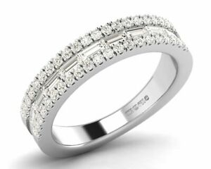 0-75carat-Round-Brilliant-and-Baguette-Cut-Diamond-Half-Eternity-Ring-in-9K-Gold