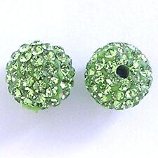 10 Peridot Rhinestone clay pave round 8mm beads for Shamballa Bracelets