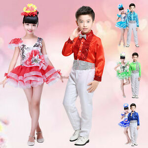 26cd25792c7b Image is loading Children-Kids-Sequined-Jazz-Tap-Dancewear-Dress-Party-