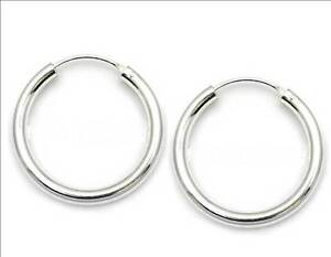 Image Is Loading Pair 3mm X 16mm 925 Sterling Silver Hoop
