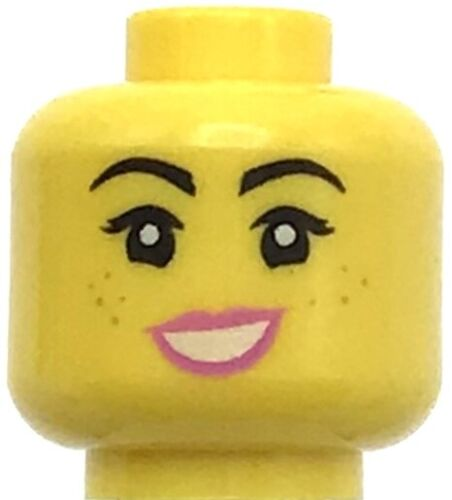 Lego New Female Minifigure Head Dual Sided Female Black Eyebrows Freckles