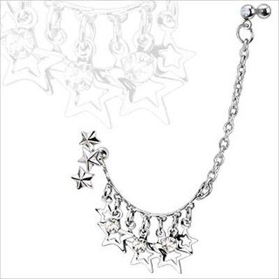 "16g 1/4"" Dangle Multi Triple Star Earring Cartilage Tragus Chain Clear CZ  #6"