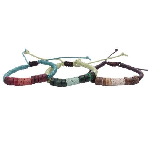 Pulsera de cuero set pulsera cuero tachuelas perlas cintas beads ethno Fesival