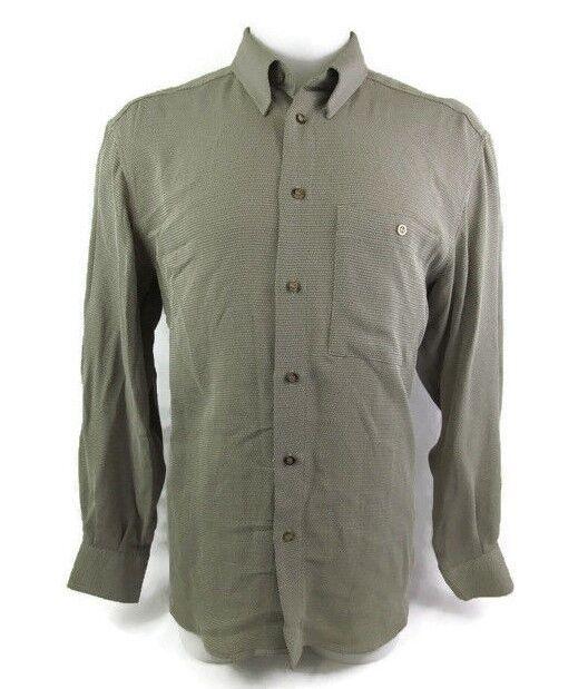 Zanella Men Long Sleeve Shirt Size Medium Italy Tan Rayon Geometric Casual