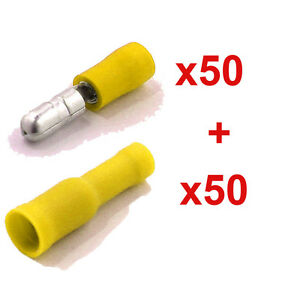 100 Pcs Electrical Male&Female Insulated Wire Bullet Crimp Connector Terminal YW