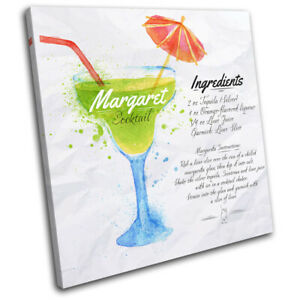 Margarita-Cocktail-Recipe-Bar-Vintage-SINGLE-CANVAS-WALL-ART-Picture-Print