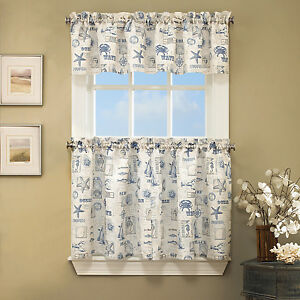 Details about By The Sea Printed Ocean Beach Images Kitchen Curtains Tiers  or Valance