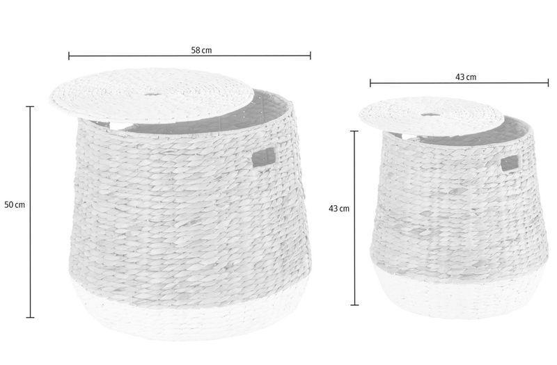 Körbe aus Wasserhyazinthe 2- teiliges Set Wäschekorb weiß weiß weiß  naturfarben 2b41ca