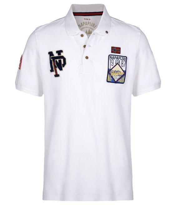 NAPAPIJRI Uomo Polo Evald Polo Tempo Libero Camicia Shirt bianca