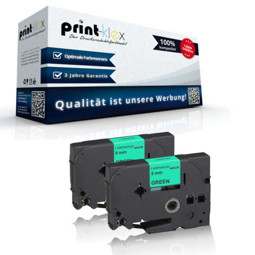 2x Ersatz kompatible Schriftbänder für Brother TZE721 9mm x 8m Patronen Drucker