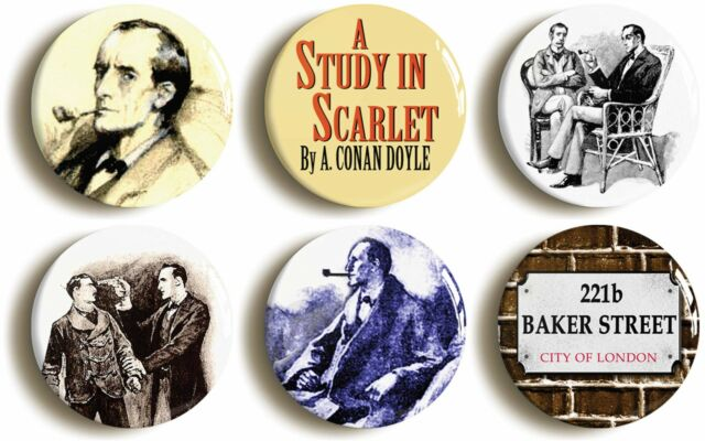 6 x SHERLOCK HOLMES BADGES BUTTONS PINS VINTAGE-STYLE (1inch/25mm diameter)