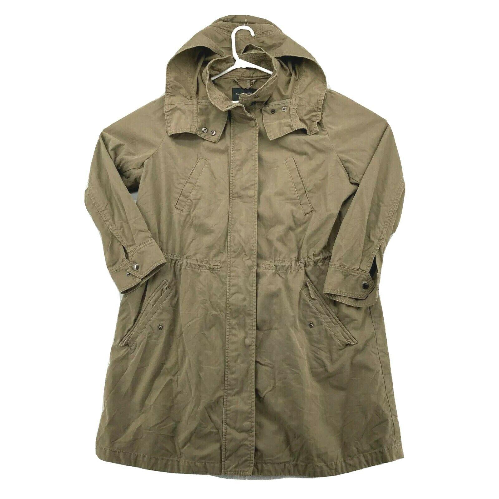 Banana Republic Womens Long Sleeve Front Pockets Solid Tan Hooded Jacket Size M