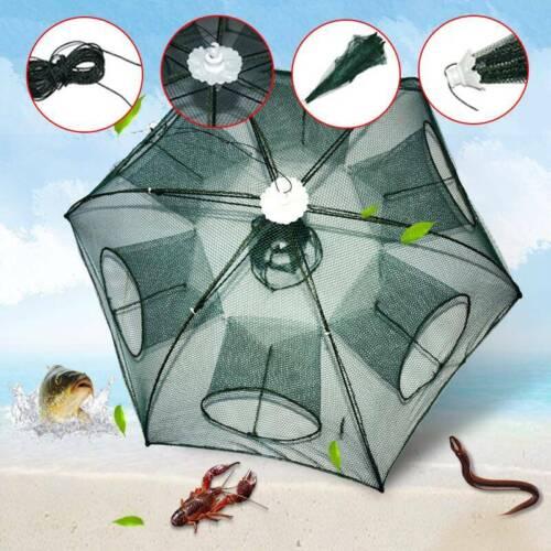 Fishing Net Trap Portable Umbrella Fish Shrimp Minnow Crayfish Crab Baits 6 Hole